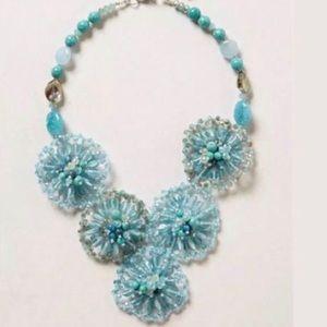 Anthropologie Blue Turquoise Beaded Bib Necklace